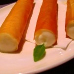 basil cream filled phyllo cigars