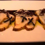 monkfish with chinese garlic, black sesame seed, and seaweed