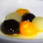 "molecular gastronomy: black truffle, parmigiana & quail egg ""yolks"""
